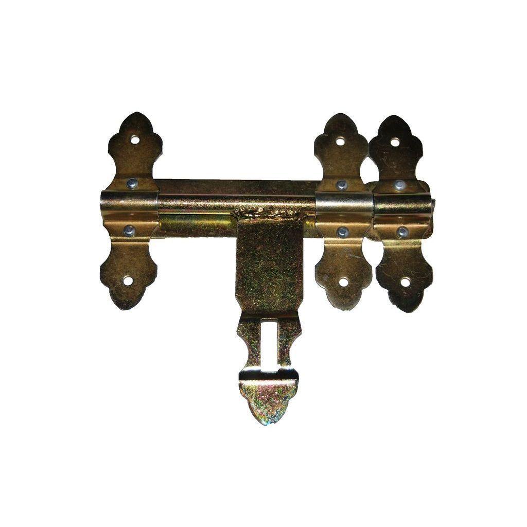 Задвижка калиточная,фигурная, желтая 200 мм (9485)
