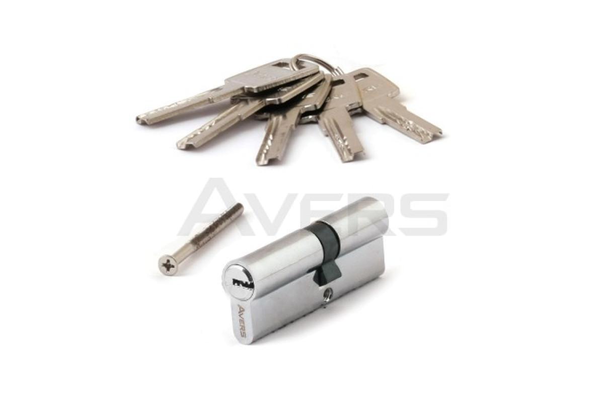 Цилиндровый механизм АВЕРС 90 со смещением 35*55 ключ-ключ хром (9794)