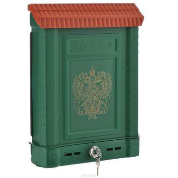 Ящик почтовый, пластиковый ПРЕМИУМ зеленый герб (7087)