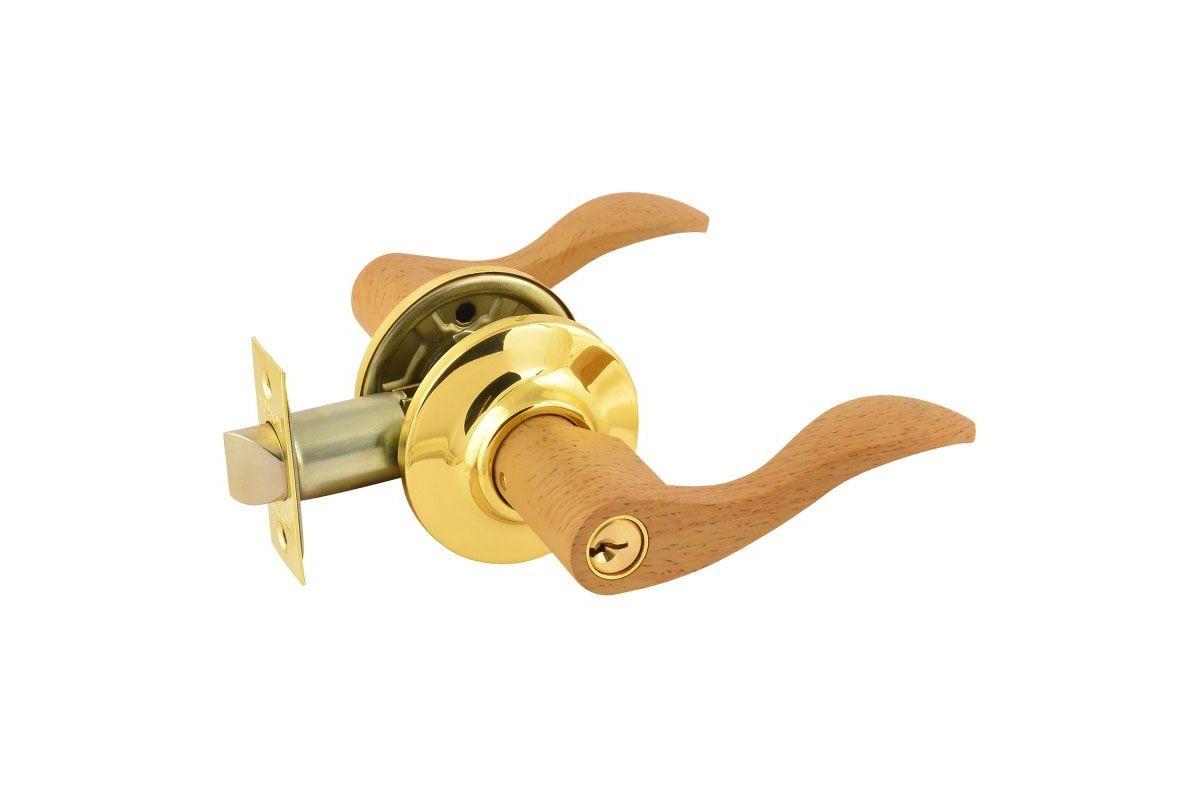 Защелка межкомнатная ЗВ 1-01 ключ-фиксатор дерево бук золото (6057)