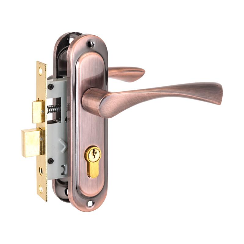 Замок врезной с ручками АЛЛЮР 103/50 медь, ключ-ключ (9650)