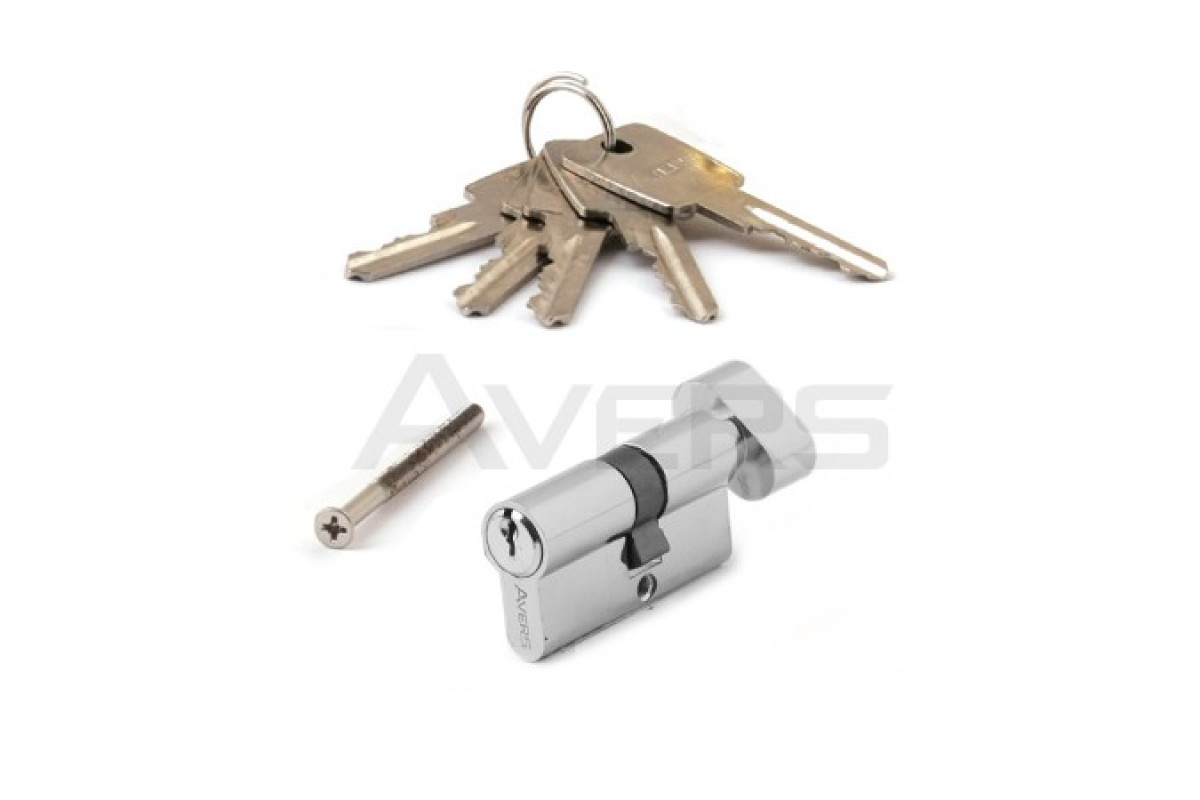 Цилиндровый механизм АВЕРС ZC 60 ключ-вертушка хром (9790)