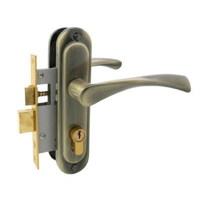 Замок врезной с ручками АЛЛЮР 103/50 бронза, ключ-ключ (9649)