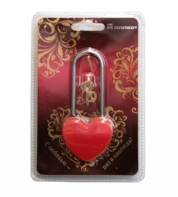 Замок навесной АЛЛЮР сувенир СЕРДЕЧКО красный  (9606)