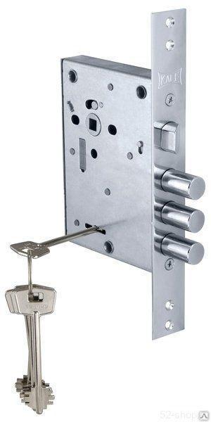 Замок врезной ЗВ 442 L, 4 ключа, никель (4280)