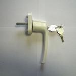 Ручка для пластиковых окон,белая KL-303 с замком (7669)