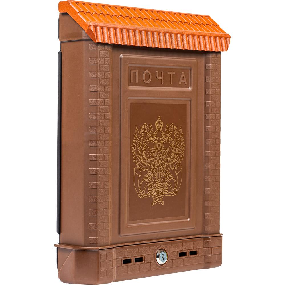 Ящик почтовый, пластиковый ПРЕМИУМ коричневый герб, внешний (7089)