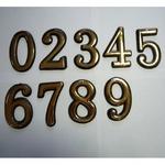 Цифра дверного номера 0, 1, 2, 3, 4, 5, 6, 7, 8, 9 золото, большая.
