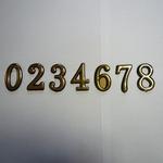 Цифра дверного номера -5-см -  0 (8390), 1 (8391), 2 (8392), 3 (8393), 4 (8394), 5 (8395), 6 (8396), 7 (8397), 8 (8398), 9 (8399) пластмассовые,на клеевой основе золото