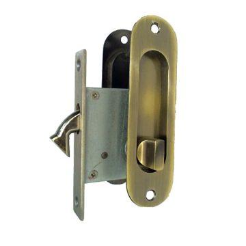 Замок врезной для дверей купе 222 бронза, ключ-фиксатор (9340)