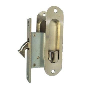Замок врезной для дверей купе 222 никель, ключ-фиксатор (4624)