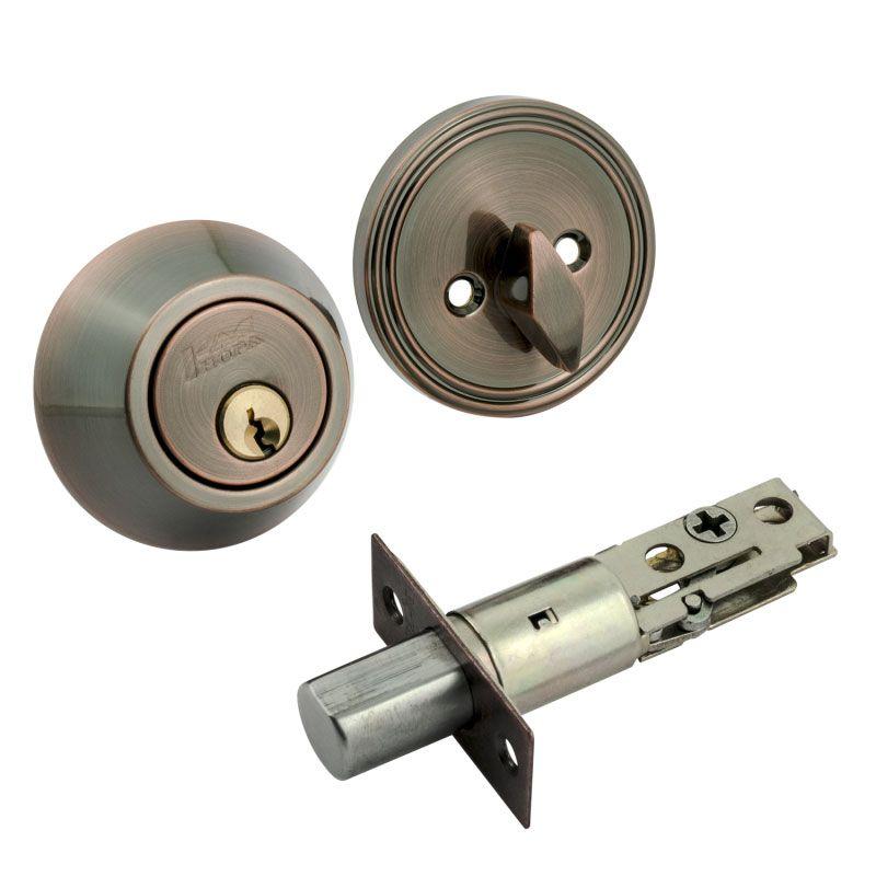 Замок врезной D 1 медь ключ-фиксатор (8949)