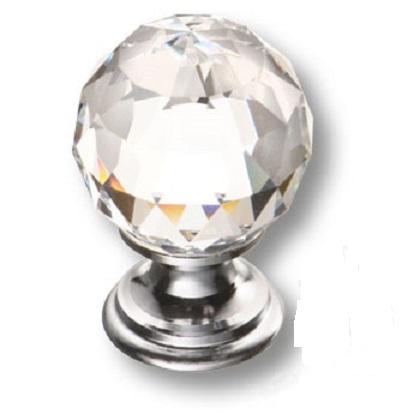 Мебельная ручка кнопка 0633 хром ХРУСТАЛИК (9732)