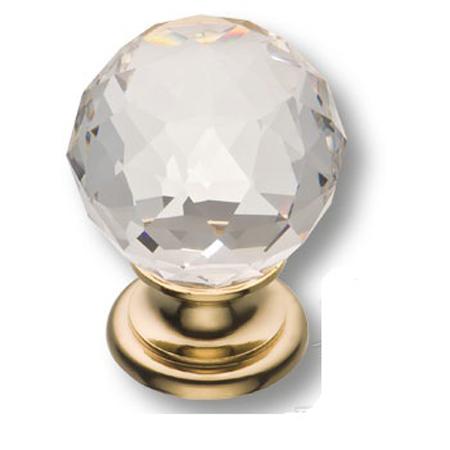 Мебельная ручка кнопка 0633 золото ХРУСТАЛИК (9731)
